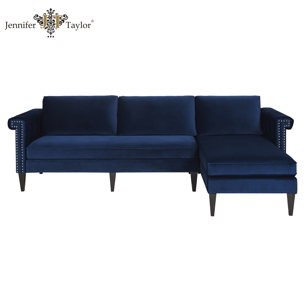 Hot selling American style navy blue velvet couches sectional sofa