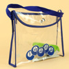 Design top sell standup clear pvc tote bag with button