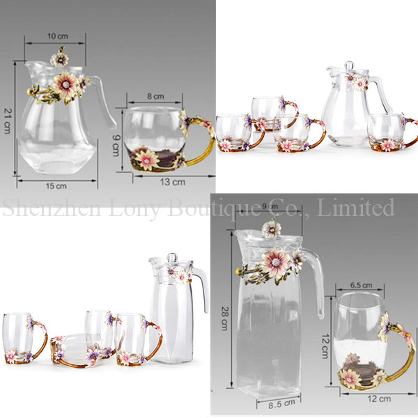 Mouth-Blown crystal lead-free glass drinking glass jug,glass water jug set