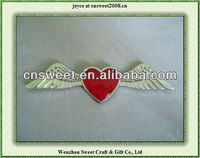 ABS Car Chrome Badge Emblem Sticker Red Heart Wing 3D Logo