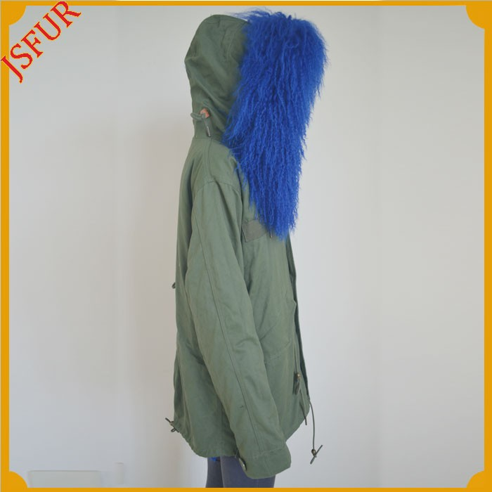 Jsfur Wholesale Army Green Women Tops Overcoat Dyed Sheep Fur