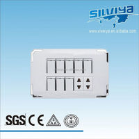 high quality ,Pakistan 8+2 gang white silver edge,electrical wall switches brand