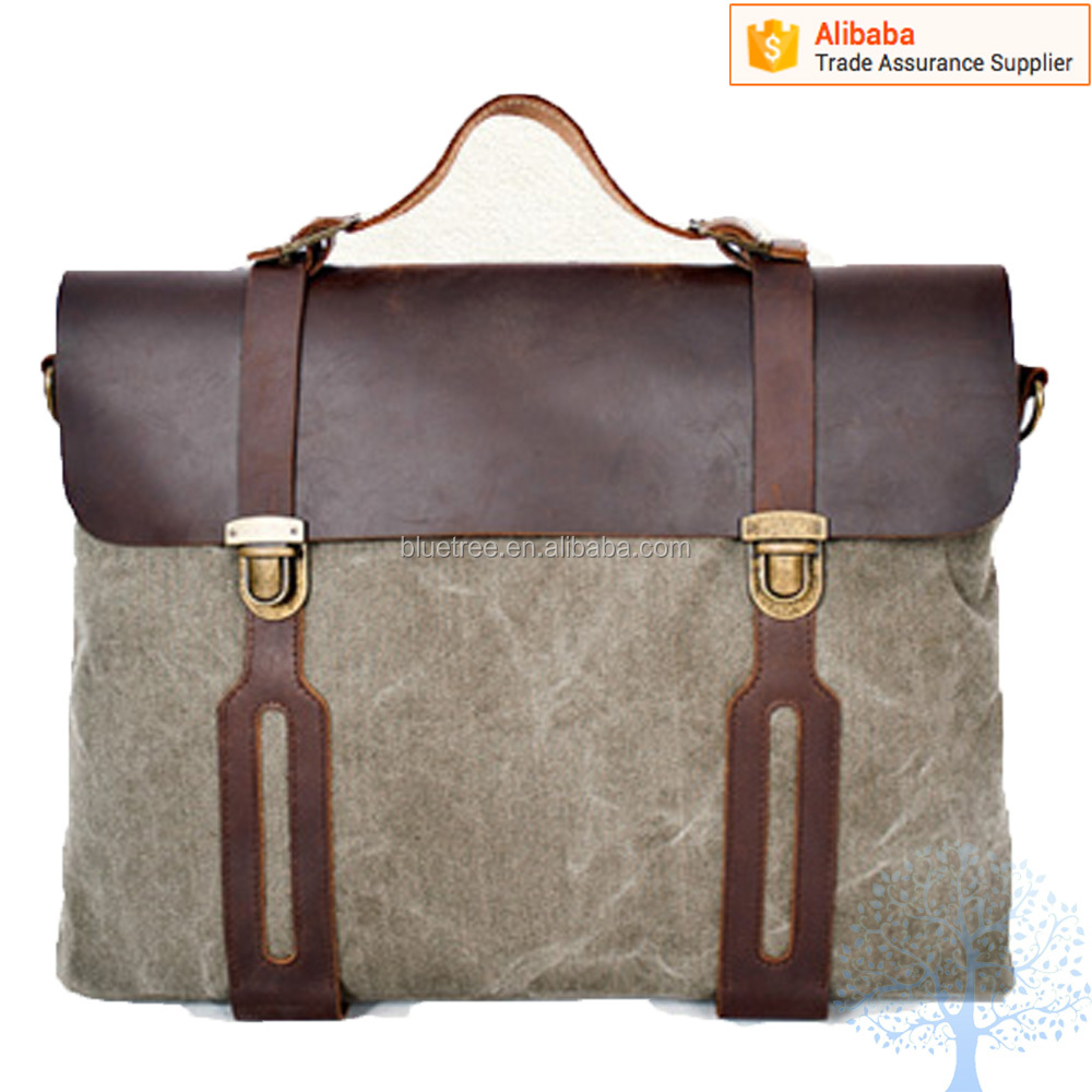 Fashionable canva+crazy horse leather messenger bag