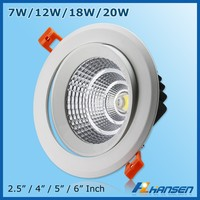 plastic aluminum housing 20w 6'' led outdoor lighting led downlight with glass cover