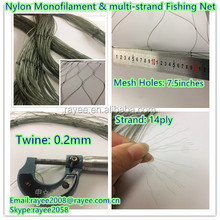 Nylon Multi-monofilament fishing the nets 0.2mmx14ply x7.5inches(full mesh size ) x70MD x100yards triple knot green color,D/S