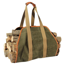 "Waxed Canvas Log Carrier Tote Bag,40""X19"" Firewood Holder"