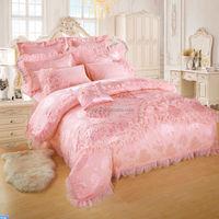 Romantic Honey Pink Lace Comforter Set, Wedding Set