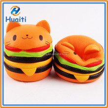 2017 New design soft hamburger cat squishy kawaii toys slow rising wholesale squishy