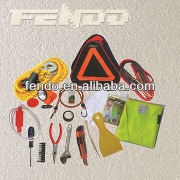auto safety roadside emergency tool kit with triangle bag