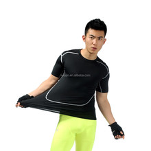 Polyester Spandex Fabric Black T Shirt Top Quality 4 Needle Flat Lock Stitching Gym <strong>Sports</strong> Compression Shirt compression <strong>sports</strong>