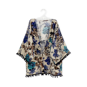 Baby Coat Floral Printed Girls Clothes Pom pom Cotton Ruffle Cardigan Coat