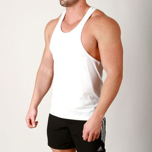 100% cotton running plain muscle stringer vests bodybuilding tank top white y-back gym singlet for men