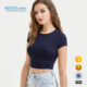 MGOO Navy Blue Women Slim Fit Crop Tee Short Sleeve Plain 95%Cotton5%Spandex Crop Top Basic Top