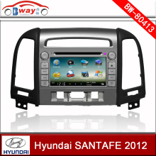 Bway 2 din car video player for Hyundai SANTA FE 2012 Three holes car dvd player with GPS,Radio,bluetooth,steering wheel