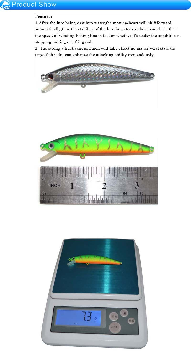 "90mm(3.5"")-7.3g ABS Plastic Hard Minnow Lures For Fishing"