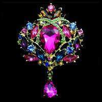 Austrian Rhinestone Brooch Pins For Women Gold Lily Broches Crystal Jewelry Fashion Wedding Party Invitation Relogio Feminino