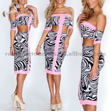 Stylish Hot Pink Zebra Printing Off Shoulder Finery Dresses