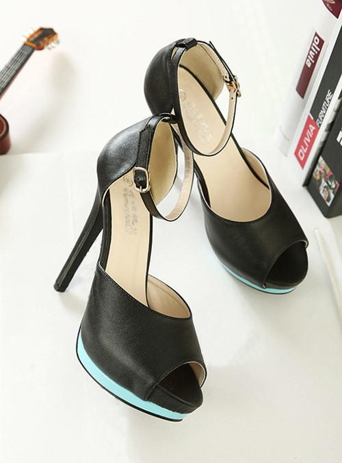 Fashion Women High Heels Ankle Strap Peep Toe Platform Sole Shoes Stilettos Pumps Black