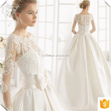 New Design Bateau Neckline Satin Ball Gown Wedding Dress with Butterfly 2017
