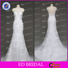 ED Bridal White Trumpet V-backless Tulle Court Train Lace Pakistani Bridal Dress