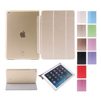 Factory Outlet PU ultra thin silk grain smart flip cover case for iPad air