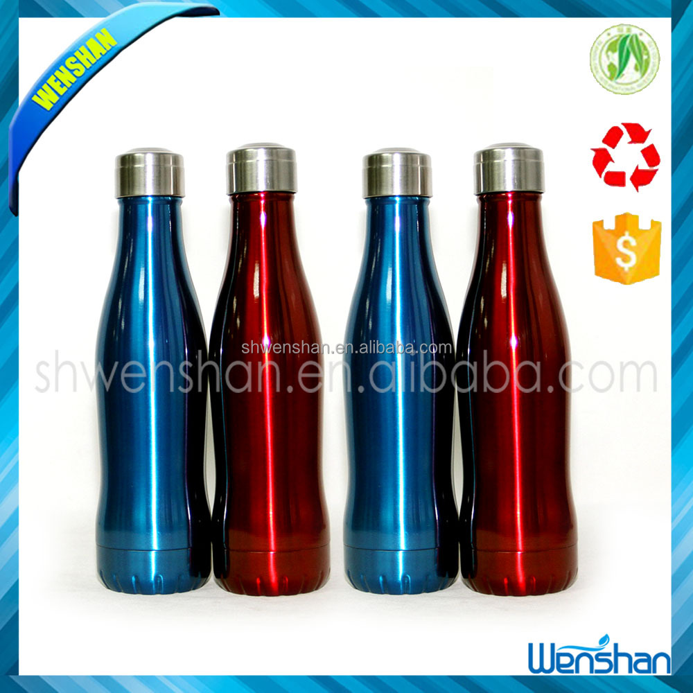 Custom logo stainless steel double wall vacuum water bottle/sports vacuum cola sublimation gym bottle with steel lid