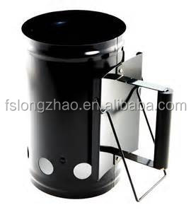 sliver bbq charcoal chimney starter with wood handle