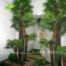 GNW APM033 Mini Plastic Leaves Artificial Fan Palm Trees sale for outdoor decoration