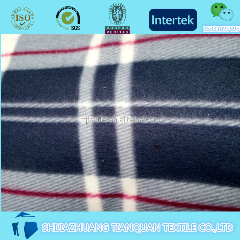 wholesale Different colors 100% polyester cotton flannel shirt fabric