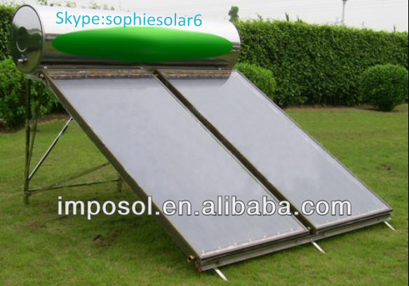 flat-plate solar copper collector with blue titanium coating