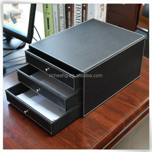 Hot sale office PU leather desk filling trays