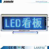 Shenzhen factory hot sale 16x64 dots blue led moving message display sign