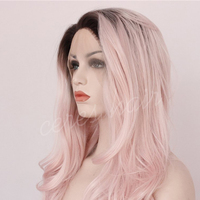 black to pink ombre color wig long wavy lace front synthetic wig for cosplay