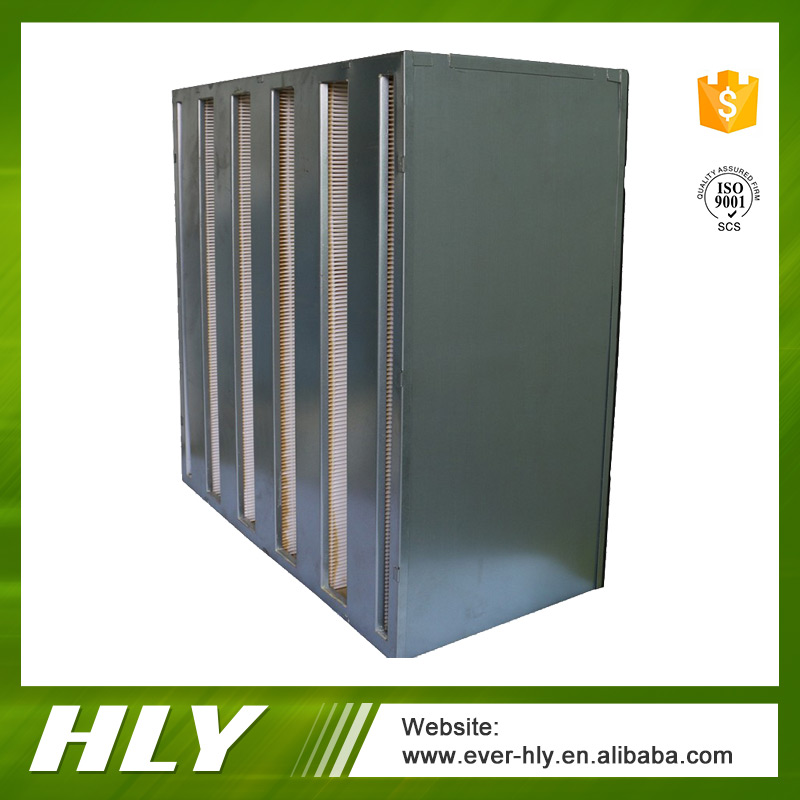Large dust holding capacity mushroom plant panel v bank hepa air filter