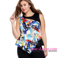 Patchwork Big Girl Tank different types blouses 2016 new designs top