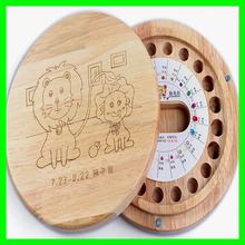 Round Wooden Baby Tooth Box