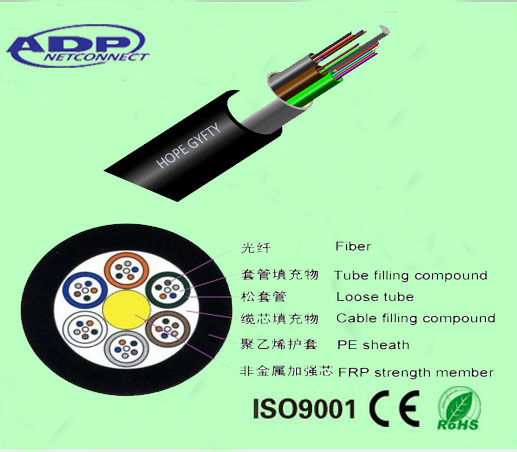 Outdoor Fiber Optic Cable GYFTY Loose Tube with FRP Strengten Member