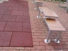 outdoor playground rubber paving brick sandstone pavers
