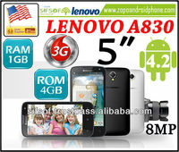 "LENOVO A830 5"" IPS Capacitive Touch Screen Android 4.2 8MP Quad Core 3G MTK6589 1.2GHz 1GB+4GB WiFi GPS Smartphone- Black"