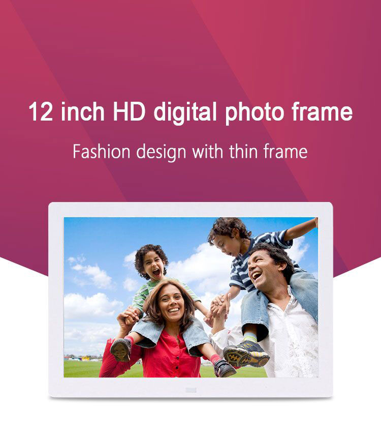 China Wall Mount 12 inch digital photo video photo picture frame with calender & clock
