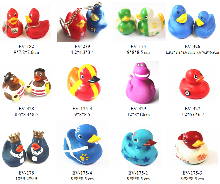 plastic promotion rubber duck keychains, small mini rubber duck
