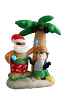Christmas Lighted Airblown Inflatable Santa and penguin enjoy resting under tall palm tree.