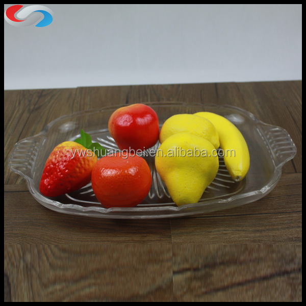 Clear Rectangle Square Glass Fruit Dishes & Plates
