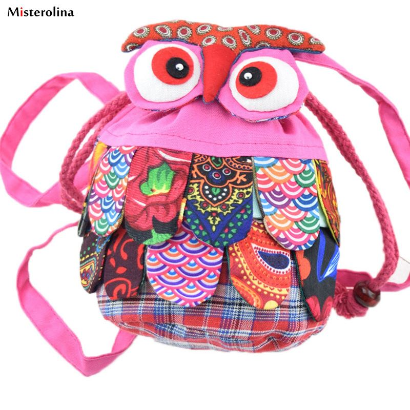 Kid Fashion Children Colorful Owl Ethnic Backpack Schoolbag Shoulder Bag Satchels Backpacks L09858