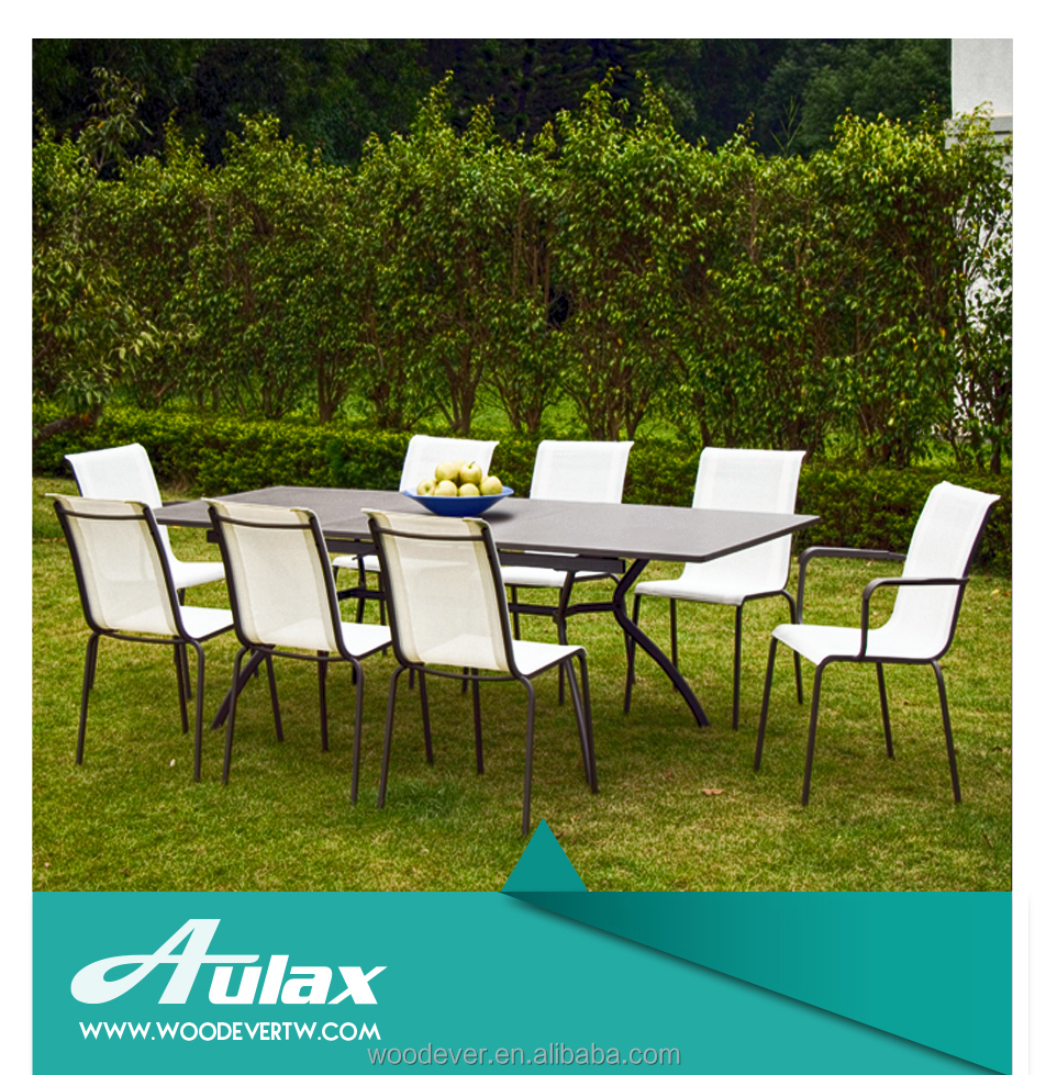 Outdoor wrought iron dinner table and chair for garden use