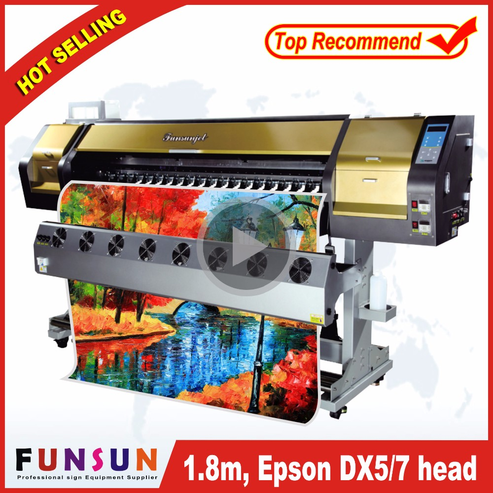 New model 1.8m Funsunjet FS1802G /6ft computer sticker cutting printer plotter printing flax printer 1440dpi