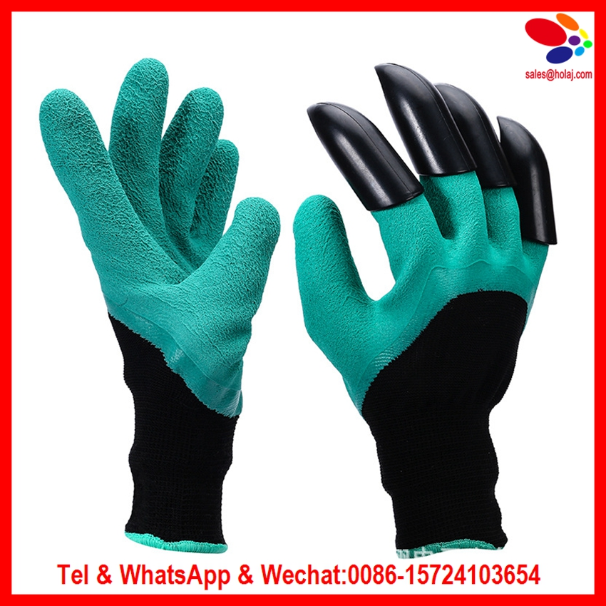 2017 Garden Genie Gloves with Fingertips Claws Quick Easy to Dig and Plant Safe for Rose Pruning Gloves Mittens Digging gloves