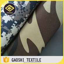 600D Polyester Woodland Camo Printed Oxford Fabrics For Military Bags With PVC Backing
