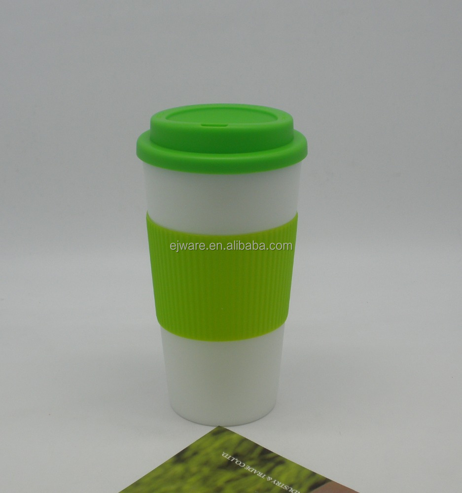 bpa free double wall plastic cups with TPR sleeve