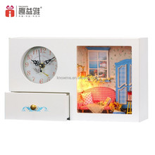2017 new fashionable wooden doll house DIY small clock storage box type house designs